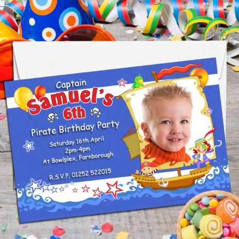 10 Personalised Pirate Birthday Party PHOTO Invitations N123